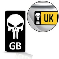 2 x PVC Stickers Number License Plate GB UK Punisher Registraion Numberplate