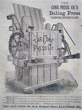 1882 Antique Hay Baler Engraving Art Farm Machinery Cone Press Co. Print Ad
