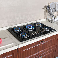 Black 30 inch Tempered Glass Built-in 5 Burner LPG/NG Gas Hob Cooktops Cook Top