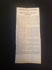 67-8  Ephemera 1935 Article June Brooklands Motor Cycle Racing Records Broken