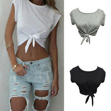 Women Summer Tops Knotted Tie Front Crop Tops Cropped T Shirt Casual Blouse ^G