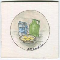 FOLK ART PRIMITIVE BREAKFAST EGGS GREEN JUG MILK PITCHER VIRGINIA ART PAINTING