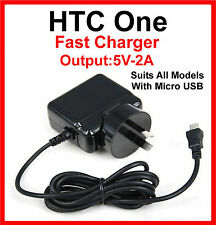HTC One Mini 2 M8 AC Wall Charger Glossy Black Suits All Models