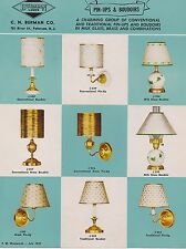1950s VINTAGE AD SHEET #1571 BURMAN PINUPS & BOUDOIRS LAMPS - BRASS - MILK GLASS