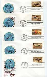 2545-49 Fishing Flies set of 5 Farnam, HF, FDCs