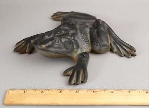Large Antique Painted Cast Iron Figural Bullfrog Doorstop, Virginia Metalcraft