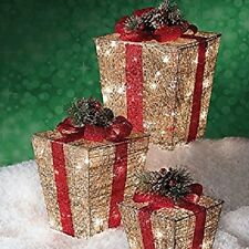 Set of 3 Pre Lit Lighted Gold Christmas Gift Boxes Presents Outdoor Yard Decor