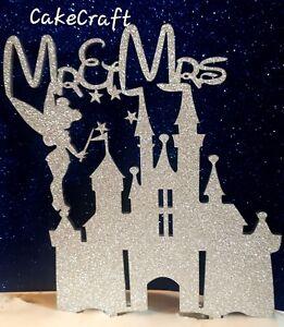 Mr&Mrs glitter Disney princess,tinkerbell castle wedding cake topper decorations