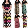 Women's Chevron Print Summer Short Sleeve Plus Size Casual Long Maxi Dresses