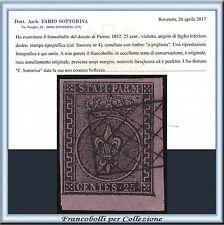 ASI 1852 Parma cent. 25 violetto n. 4 Usato Certificato Antichi Stati  Italiani