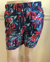 """NWT George Men's Swim Trunks Shorts 6"""" Inseam Palm Tree Red Blue Whte Above Knee"""
