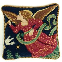 "Vtg Christmas Wool Needlepoint Petit Point Throw Pillow Angel Trumpet 10.5"" Sq"