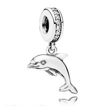 DIY Dolphin European CZ Crystal Charm Silver Spacer Beads Fit Necklace Bracelet