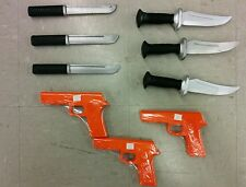 3 Rubber GUNS AND 6 KNIFE Knives Set Martial Arts Training Defense Police Gear