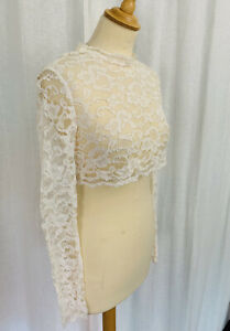 Vintage Lace Top Bolero Overlay Corded Lace Bridal Button Back Size 6-8