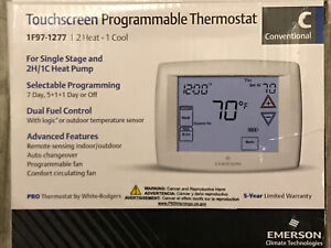 Emerson White-Rodgers 1F97-1277 Blue Universal Touchscreen Thermostat
