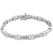 "Real Diamond Link Statement Fancy Pave Bracelet 925 Sterling Silver 7"" | 1/7 CT"