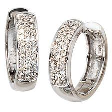 Orecchini a Cerchio 585 Oro Bianco 50 Diamanti Brillanti 0,25 Ct. Cerchietti