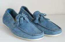 New Santoni Suede Mens Boat Shoes Loafers Slip On Moccasin Sneakers Blue UK 8