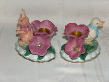 2 Avon Springtime Collection Candle Holders Duck & Flowers Rabbit & Flowers