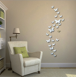 UK 12Pc 3d Flower Butterfly Art Mirror Wall Sticker Mural Diy Home Room Acrylic