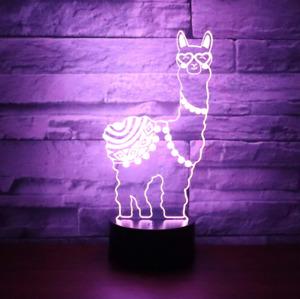 3D LED Illusion Night Light 7 Colours Desk Bedside Lamp Super Cute Alpaca