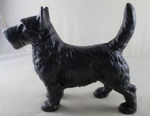 Cast Iron Scottish Terrier Dog Statue Black Enamel Scottie Home Decor Door Stop
