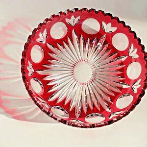 Bohemian Czech Bowl Ruby Cut To Clear Starburst Sawtooth Edge