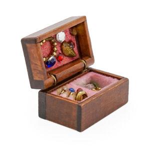 1:12 Miniatur Schmuckkästchen Holz, Größe S Puppenhaus Dekoration Zubehör