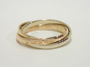 CARTIER 18k tri-color gold Trinity narrow band ring size 48