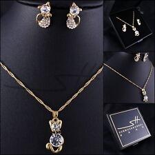 Kätzchen-Set Halskette+Ohrstecker *Katze* Gelbgold pl, Swarovski Elements +Etui