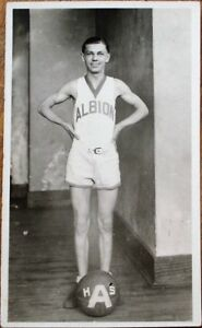 Basketball Player in 'Albion' Uniform w/Ball 1930s Photograph / Photo