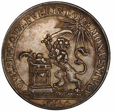 PCGS AU50 1745 NETHERLANDS VERVOLG-197 MEDAL-SILVER RECHENPFENNIG LION SUN TONED