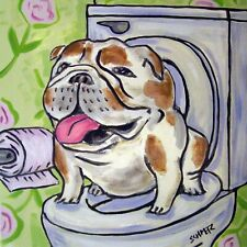 Bulldog in the bathroom dog art tile coaster