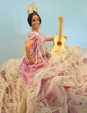 "vintage Marin Chiclana doll senorita playing guitar 5.5"" tall  lavendar w/lace"