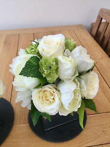 IVORY ROSE PEONY HOPS ARTIFICIAL LUXURY FLOWERS MIRROR CUBE ARRANGEMENT WEDDING