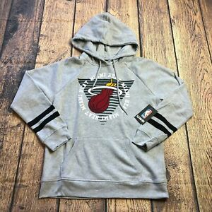 UNK NBA Womens Large Miami Heat Gray Pullover Long Sleeve NBA Hoodie Fleece NEW