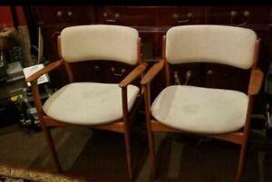 Vintage Mid-Century Modern Erik Buch Danish Teak Arm chairs Moebler