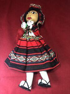 "Peruvian Cloth Doll  Babies Embroidered Face Yarn Hair 14"" Peru Vintage Handmade"