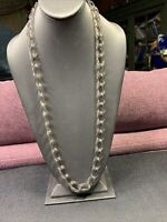 """Signed J Crew Grey Clear Lucite  Chain.  Long Sweater Necklace 32"""""""