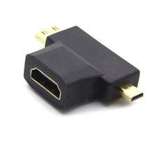 HDMI Female to Mini Micro HDMI Male 2 in 1 Convertor Adapter Gold Plated La