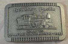 Southern Pacific Railroad Train Engine Belt Buckle Railfair Sacramento 1981 Pewt