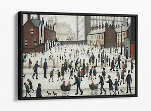 LS LOWRY WINTER IN PENDLEBURY -FLOAT EFFECT CANVAS WALL ART PIC PRINT- GREY