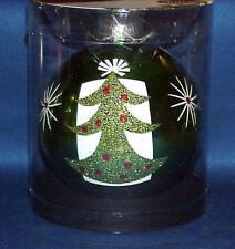 """4 """" ROUND GLASS CHRISTMAS ORNAMENT GREEN STENCIL CHRISTMAS TREE VERY NICE"""