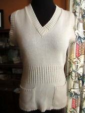 Small True Vtg 70s Camel Sand Acrylic Knit Stretch V-neck Sweater Frock Top