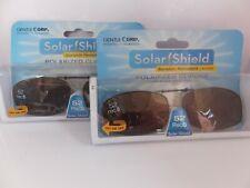 2 SOLAR SHIELD Clip-on Polarized Sunglasses 52 Rec 5, Brown Lens