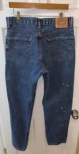 Levis 550 Men 32 x 32 Jeans Relaxed Fit Medium Wash Distressed Paint Splatter