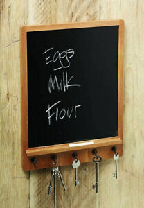 KitchenCraft Natural Elements Wooden Chalk Notice Board with Key Holder Hooks