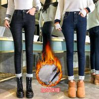 Women Jeans Fleece Lined Trousers Slim Winter High Waist Pencil Pants Warm Pants