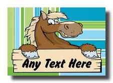 Cartoon Horse Stripy Personalised Jumbo Fridge Magnet